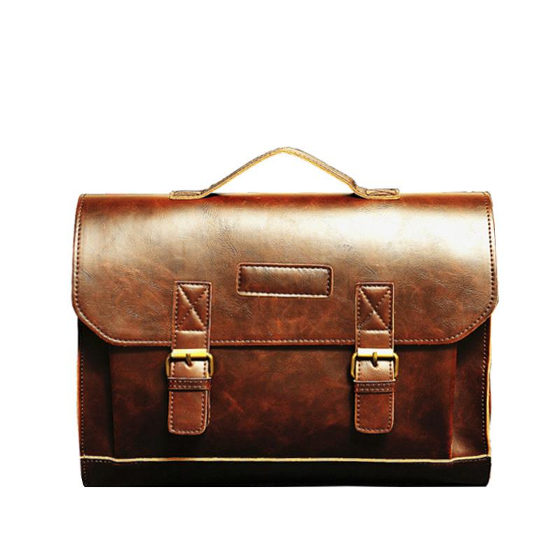 2019 Korean Style Fashion Men Crazy Horse Pu Leather Laptop Bags For Men Cross Body Casual Flap Shoulder Bag Briefcase Handbags
