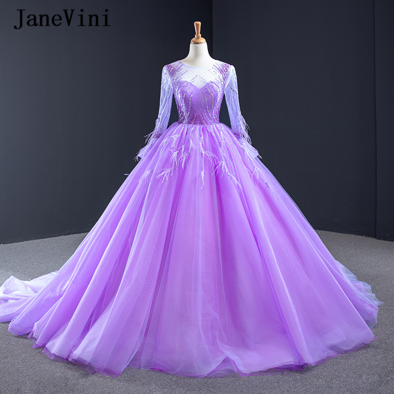 JaneVini Luxury Purple Arabic Ball Gown Evening Dresses Long Sleeve Feathers Sparkly Beading Tulle Puffy Dubai Women Formal Gown