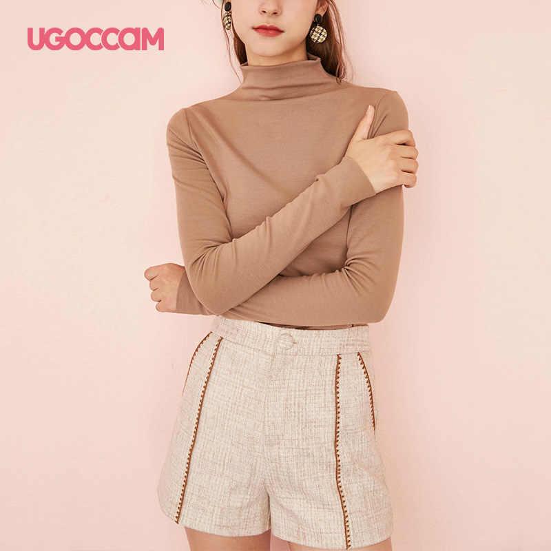 UGOCCAM водолазка футболка коричневый тонкий крой элегантная рабочая одежда длинный рукав твердые пуловеры футболки женские минималистичные осенние Рубашки