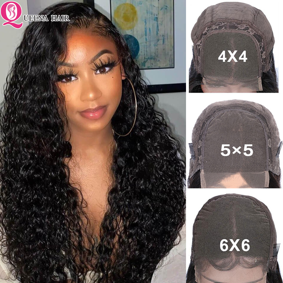 Curly Lace Front Human Hair Wigs 6x6 Lace Closure Wig Pre Plucked Brazilian 5x5 Transparent Glueless Lace Wig Remy Natural Black