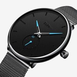 بساطتها الرجال ساعة عادية مقاوم للماء الأسود عادية نمط فريد الفولاذ المقاوم للصدأ الذكور ساعة اليد وقف ساعة هدية