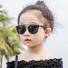 Children's Cat Eye Glasses Vintage Brand Designer Rose Gold Mirror Sunglasses For Women Metal Reflective flat lens Sun