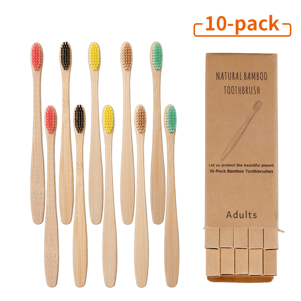 10Pcs Toothbrush Eco-Friendly Rainbow Bamboo Soft Fibre Toothbrush Biodegradable Teeth Brush Solid Bamboo Handle Toothbrush