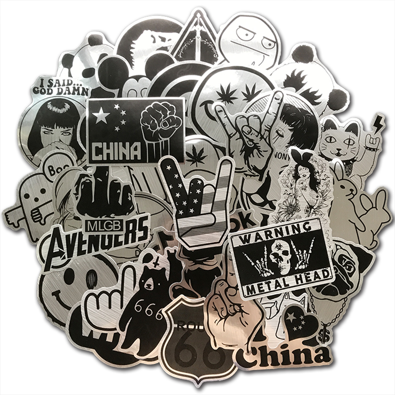 100Pcs Cool Metallic Holo Black and White Stickers Bomb Punk Tide Brand Sticker For Skateboard Luggage Laptop Motorcycle Guitar