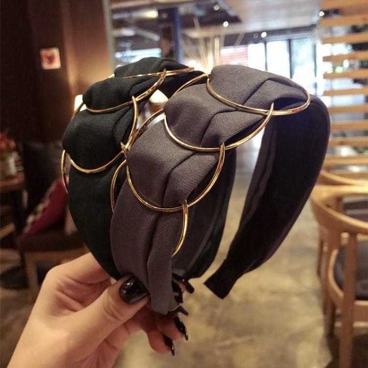 Woman Hair Accessories 2020 Korea High Quality Hair Band Golden Ring Cross Stitching Fabric Headband Headband Ladies New