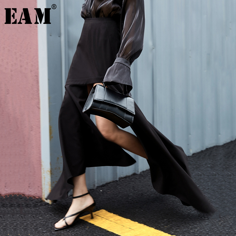 [EAM] High Waist Black Irregular Ruffles Long Temperament Half-body Skirt Women Fashion Tide New Spring Autumn 2020 1T613