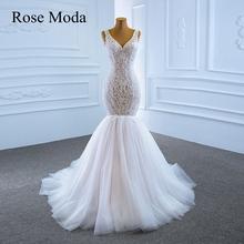 Róża Moda V Neck koronka Chantilly różowa suknia ślubna syrenka Custom made tanie tanio Rose Moda V-neck Bez rękawów Tulle siatki Kaplica pociąg CN (pochodzenie) Długość podłogi Lace up Suknie ślubne