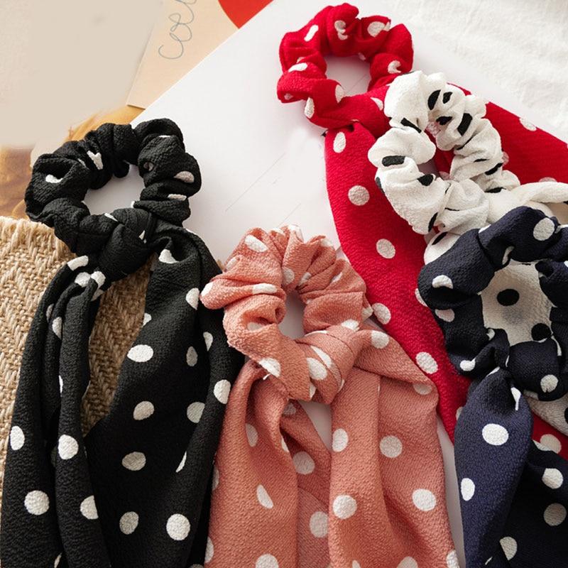 Femmes banderoles chouchous à pois imprimé Floral élastique noeud cheveux corde fille cheveux cravates coréen doux cheveux accessoires chapeaux 3