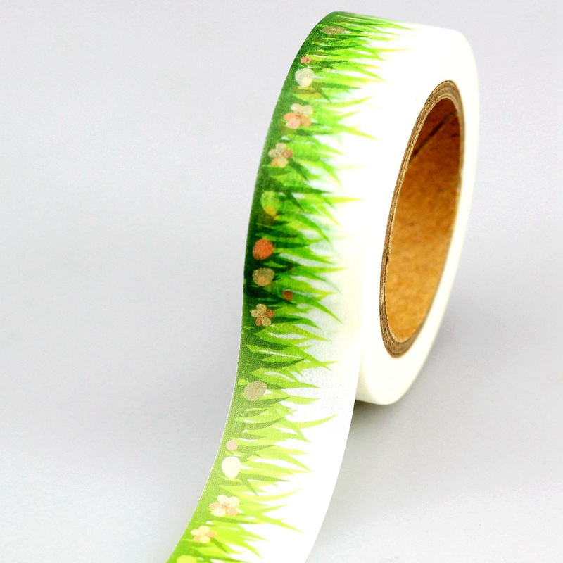 10pcs/lot Decorative Spring Grass Washi Tapes Flowers DIY Scrapbooking Planner Adhesive Masking Tapes Kawaii Stationery