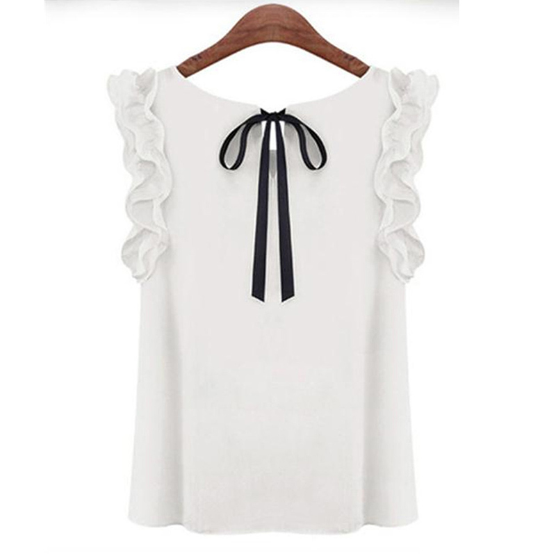 Women's Sleeveless Blouse Summer Fashion Lotus Leaf O-Neck Casual Shirt Ladies Bow Chiffon Blouses Tops Female Casual Shirt