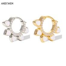 Andywen новые серьги с искусственными серебряными опалами huggies