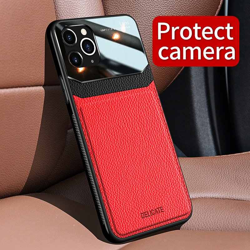 Leather Case Voor iPhone 6 7 8 Plus XR XS MAX Gevallen Luxe Lederen Spiegel Glas Shockproof Cover Voor Apple iPhone 11 Pro Max Case