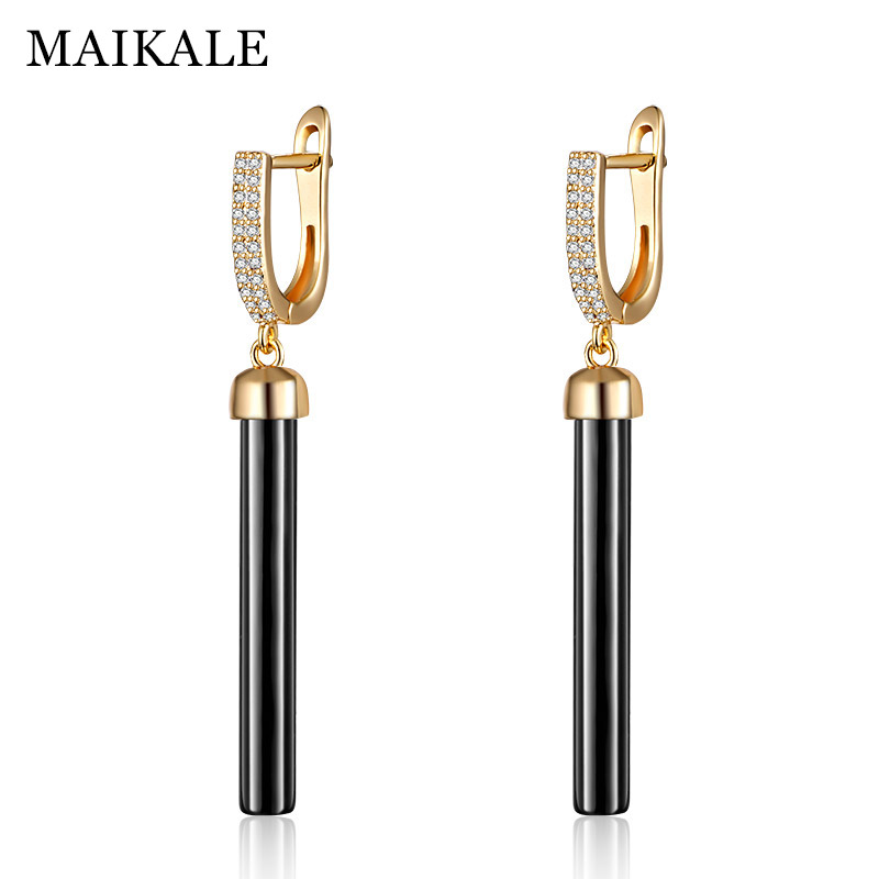 MAIKALE New Fashion Drop Earrings Copper AAA Cubic Zirconia straight lin Black White Ceramic Gold Earrings For Wonen Gift