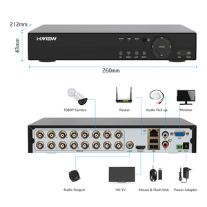 Image 4 - H. צפה 16CH מעקב מערכת 16 1080P חיצוני אבטחת מצלמה 16CH טלוויזיה במעגל סגור DVR ערכת מעקב וידאו iPhone אנדרואיד מבט מרחוק