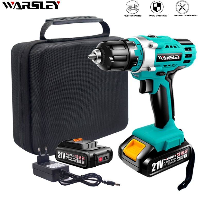 21V Electric Screwdriver Cordless Drill Power Tools Lithium-Ion Battery Drive Adjustable Two-speed Torque Chuck automatic lock