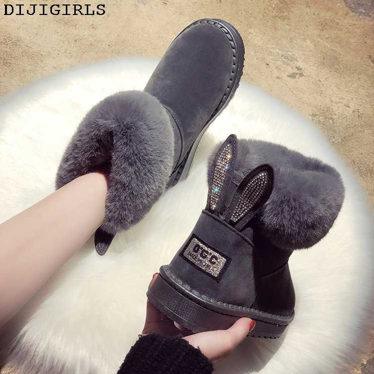 Femmes bottes marque chaussures d'hiver chaud noir bout rond décontracté grande taille femme bottes de neige