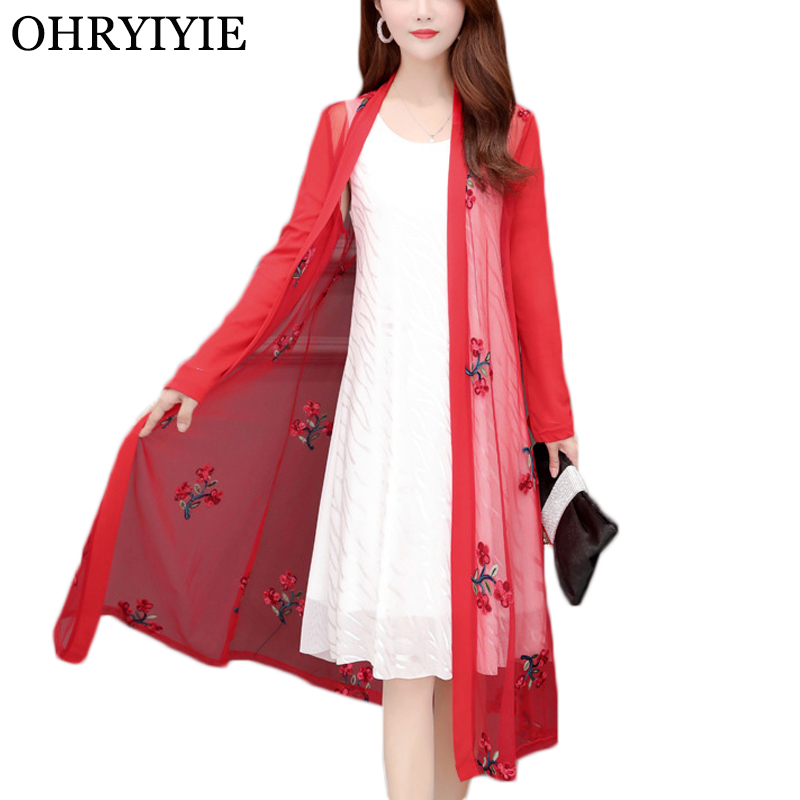 OHRYIYIE Plus Size 5XL Thin Floral Embroidery Cardigan Sweater Women Poncho 2020 New Summer Fashion Long National Style Sweaters