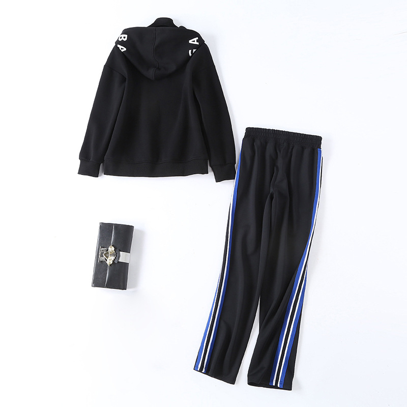 2019 Autumn New Style Jung Soo Yeon Star Celebrity Style Contrast Color Loose-Fit Gym Running Gym Sports WOMEN'S Suit