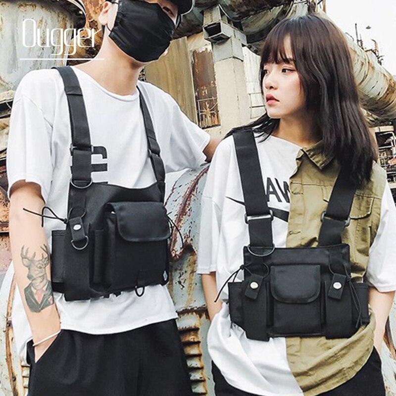 Ougger Functional Tactical Chest Bag Men Fashion Bullet Hip Hop Vest Streetwear Bag Waist Pack Women Black Chest Rig Bag
