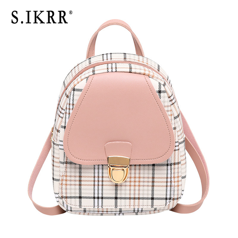 S.IKRR 2020 Mini Backpack Women Cute Korean Plaid Crossbody Bags For Teens Girls Small Travel Backpacks Purse Female Bagpack Bag