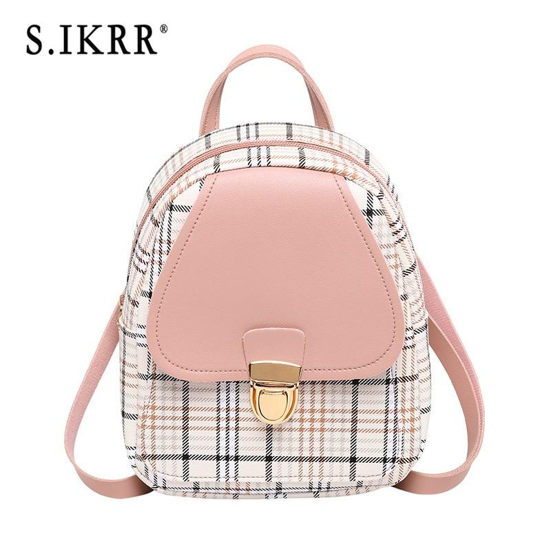 S.IKRR 2020 Mini Backpack Women Cute Korean Plaid Crossbody Bags For Teens Girls Small Travel Backpacks Purse Female Bagpack Bag