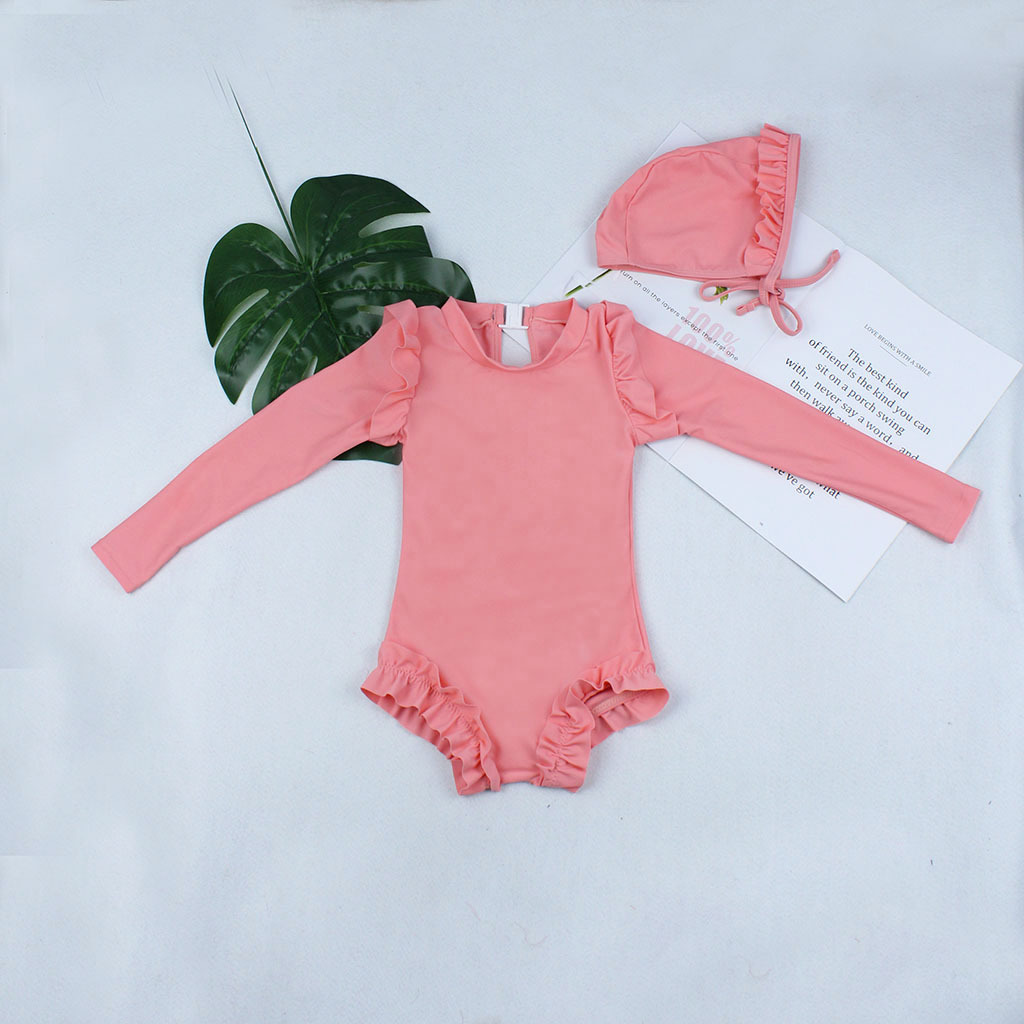 2019 Europe And America New Style Hot Sales KID'S Swimwear Send Swimming Cap Long Sleeve Solid Color Flounced GIRL'S Swimsuit PR