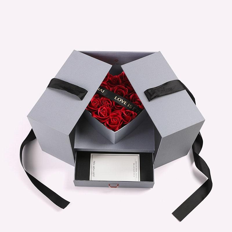 Creative Rose artificielle fleur Bouquet anniversaire fête des mères mariage maison fête saint valentin décoration bricolage couronne cadeau boîte