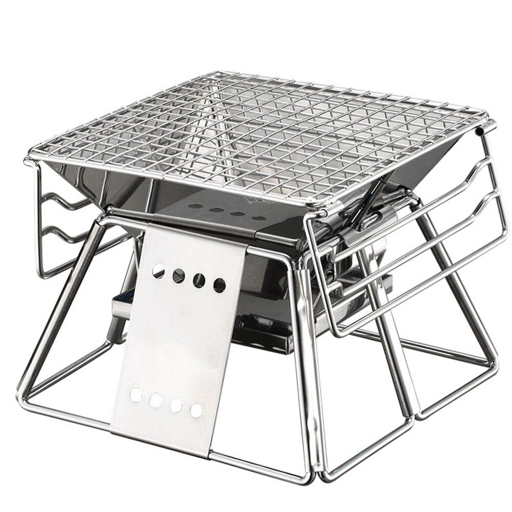 Cuisine réglable en acier inoxydable Camping BBQ four ensemble accessoires portables randonnée pique-niques pliables avec sac outil antiadhésif
