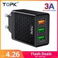TOPK B354Q Быстрая зарядка 3 порта USB зарядное устройство 30 Вт мульти зарядное устройство для iPhone Xiaomi Note samsung дорожное настенное зарядное устройс...