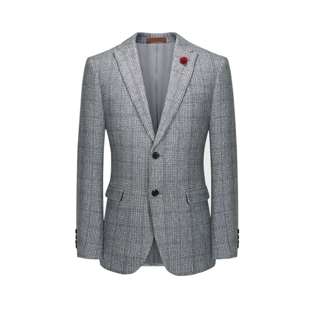 Wool Woolen Light Grey Windowpane  Tweed Men 3 Piece Suit Tailored Slim Fit Wedding Suits Retro Gentleman Style Men Blazer Suit