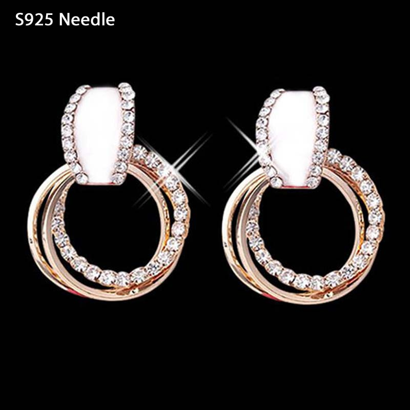 Real 925 Sterling Silver Needle Dangle Earrings for Women Jewelry Round Crystal Rhinestone Rose Gold Long Drop Earrings