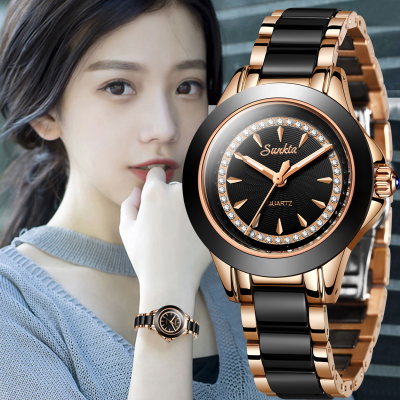 SUNKTA New Women Luxury Brand Watch Simple Quartz Lady Waterproof Wristwatch Female Fashion Casual Watches Clock Reloj Mujer+Box