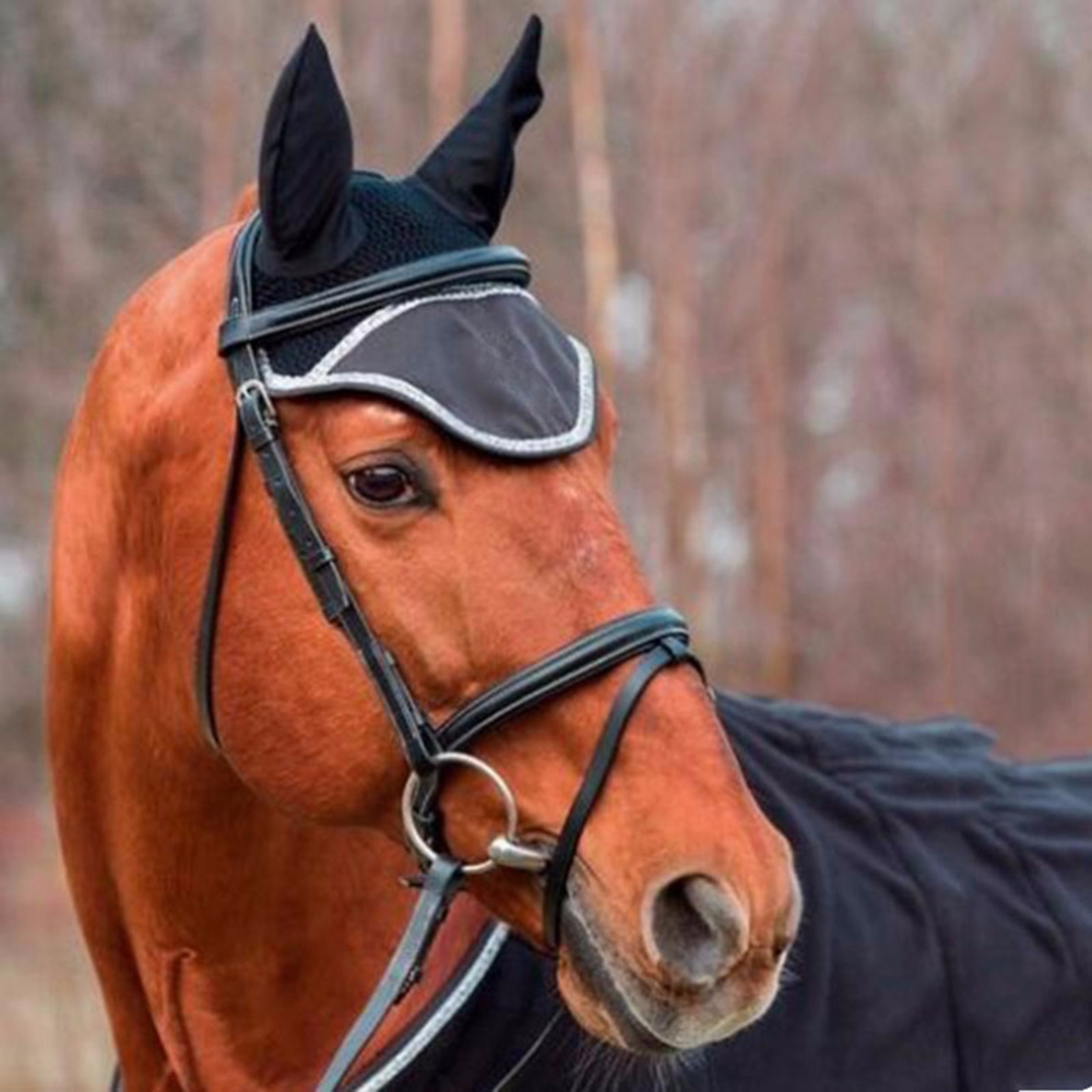 2019 New Multicolor Equestrian Supplies Horse Earmuffs Adult Horse Anti-mosquito Fly Protection Face Protection Cover Dressage
