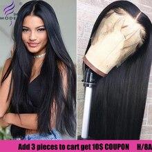 Современное шоу 13*4 кружевные передние малазийские человеческие волосы прямые парики высокое радио remy волосы парики передние для черных женщин