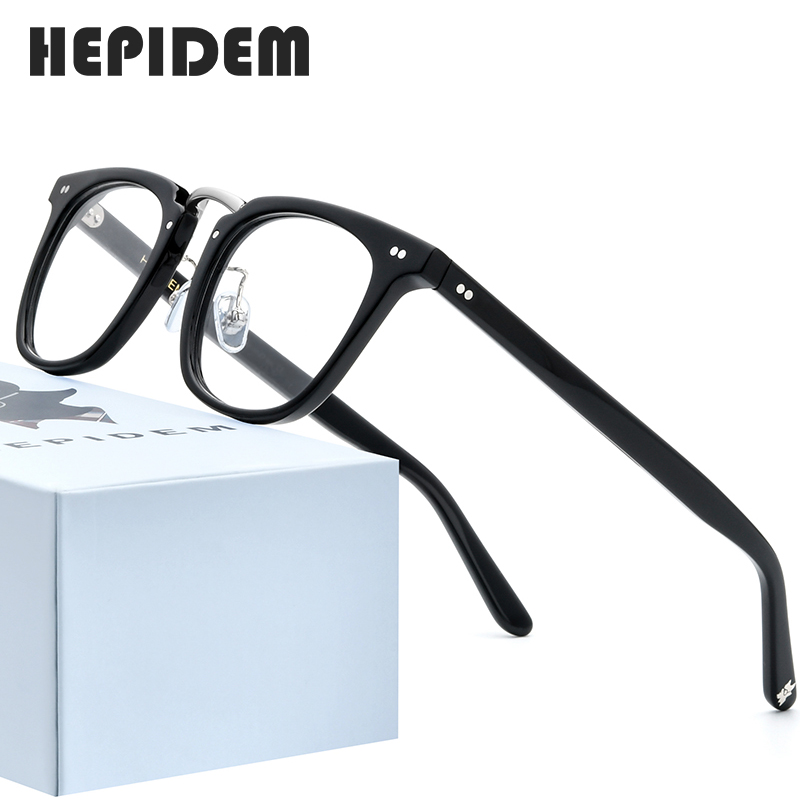 HEPIDEM Acetate Optical Glasses Frame Men 2020 Retro Vintage Square Eyeglasses Nerd Women Prescription Spectacles Eyewear 9126