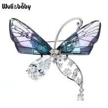 Wuli & baby Чешская прозрачная брошь в виде бабочки Стразы для