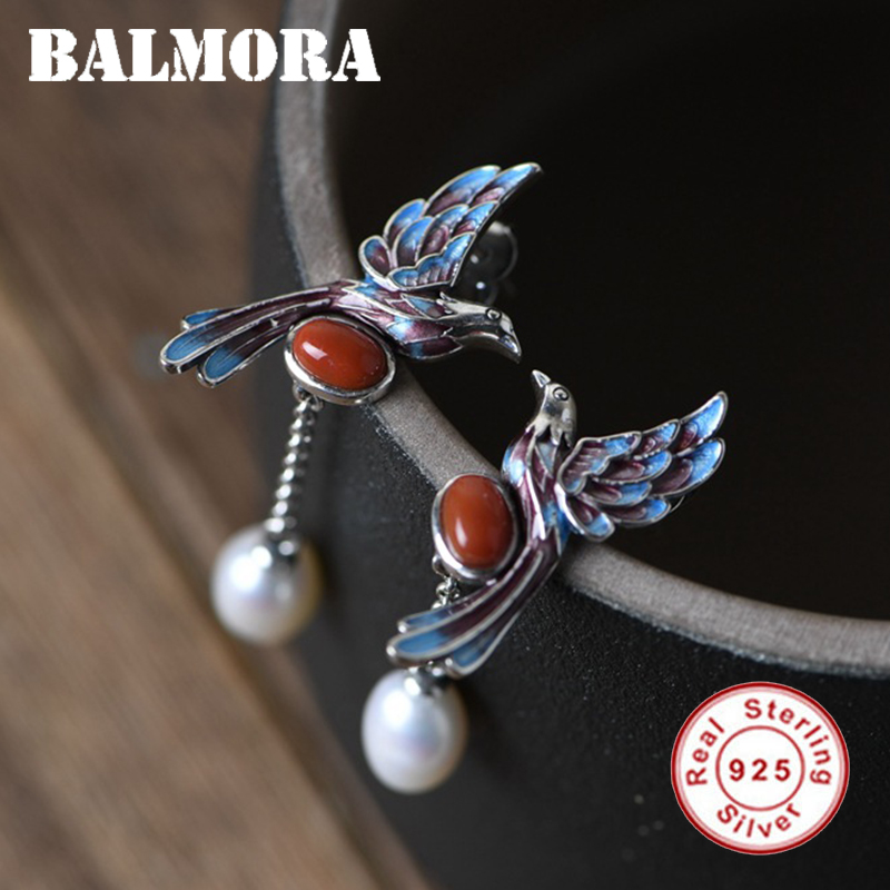 BALMORA Real 100% 925 Sterling Silver Pearl Earrings For Women Girl Red Agate Eardrop Cloisonne Magpie Ear Studs Jewelry Gift
