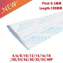 Passo liso flexível 0.5mm do cabo da fita de 10 pces fpc 100mm 4 p 6 p 8 p 10 p 12 p 16 p 20 p 30 p 40 p ffc fio 6/10/12/16/20/30/40 pin