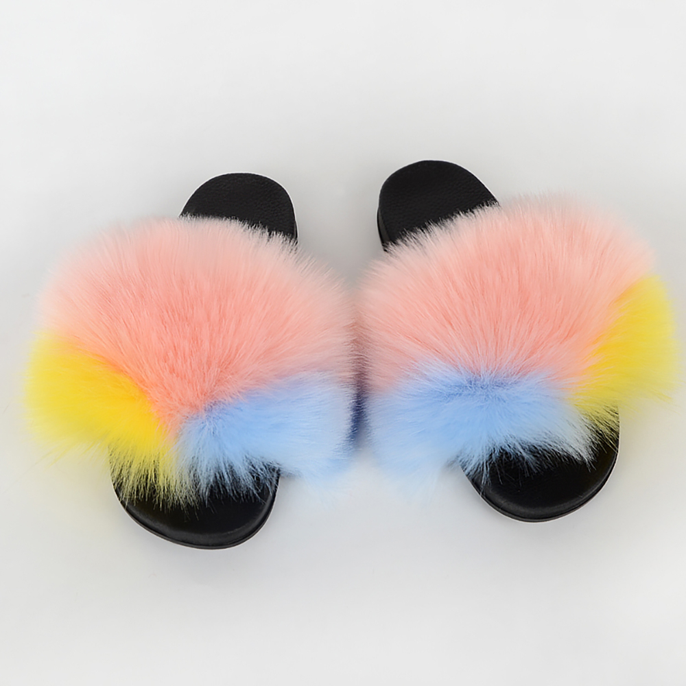 Faux Fur Slides Women Summer Fluffy Slides Outdoor Faux Fur Sandals Ladies Furry Shoes Woman 2020 Female Flip Flops Faux Fur New