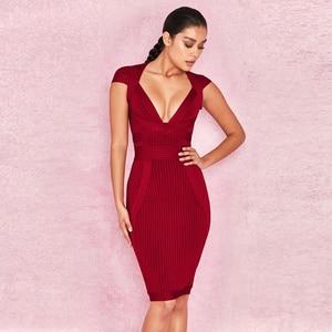 Image 2 - 새로운 여름 여성 드레스 V 목 스트라이프 붕대 드레스 섹시한 Bodycon 우아한 연예인 파티 와인 레드 드레스 클럽 연회 Vestidos