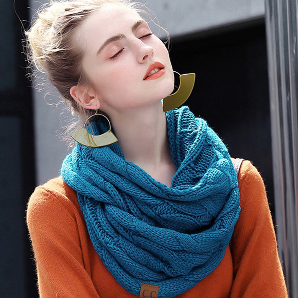 Fashion Knitted Solid Color Scarf Warm Winter Women Scarf Cashmere Snud For Women Scarf Infinity Scarves Neck Circle Ring Scarf