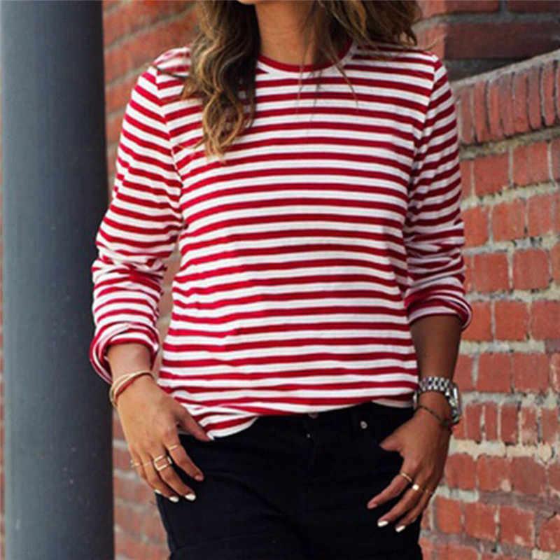 Черная, красная, полосатая, хип-хоп, свободная, Повседневная футболка для женщин с длинным рукавом и круглым вырезом, Женская Спортивная футболка для бега, женская футболка
