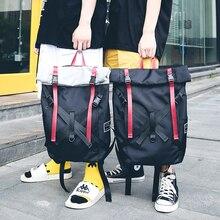 ขนาดใหญ่บุคลิกภาพBackpacking Oxfordผ้ากระเป๋าสบายๆศิลปะที่ไม่ซ้ำกันกระเป๋าเป้สะพายหลังล่าสุดRockสไตล์คุณภาพแพคเกจสีเทาสีดำ