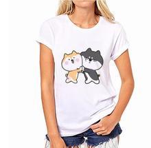Cartoon animal print 100% Cotton Cute shiba husk T-shirt Short Sleeve Tops & Tees Fashion Sexy design Casual round neck t-shirts