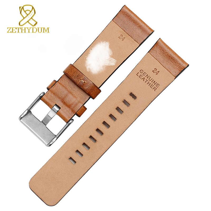 الرجعية جلد طبيعي سوار 22 مللي متر 24 مللي متر 26 مللي متر مربط الساعة ل الديزل حزام ساعة اليد DZ7406 DZ7408 DZ4476 DZ4343 المعصم الفرقة