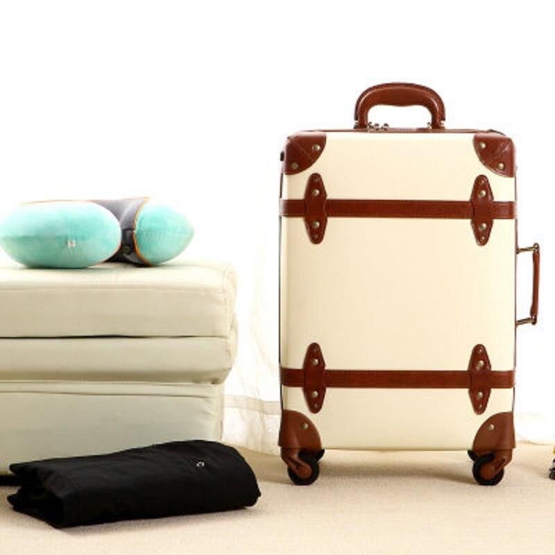 100% Simulation leder Vintage nette mode 20/24 Zoll Rolling Gepäck Spinner marke Reise Koffer Geschenk für freundin-in Rollgepäck aus Gepäck & Taschen bei  Gruppe 1
