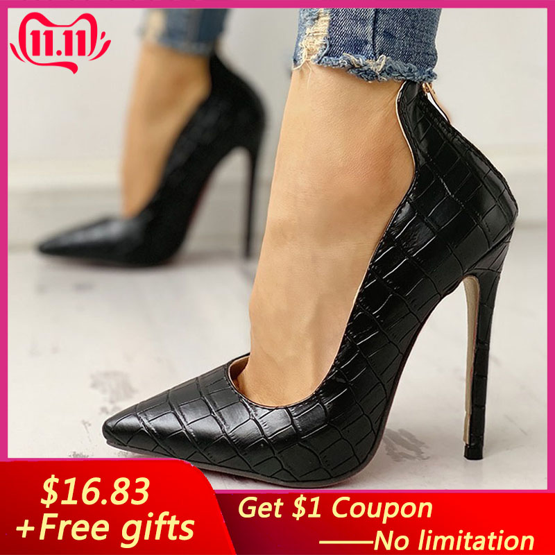 Women Summer High Heel Shoes 2019 New Fashion 12cm Solid Thin Heel Ladies Leather Shoes Business Pointed Toe Pumps Shoes Office