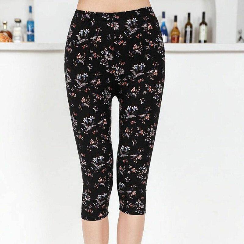Leggings Summer Women Capris High Waist Elastic Trousers Women Pants Flower Printed Stretch Leggings Mujer Leggins
