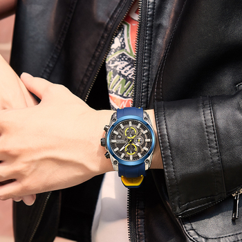 MEGIR 2020 Blue Sport Watches for Men Top Brand Luxury Chronograph Man Watch Military Quartz Clocks Luminous Relogio Masculino 5