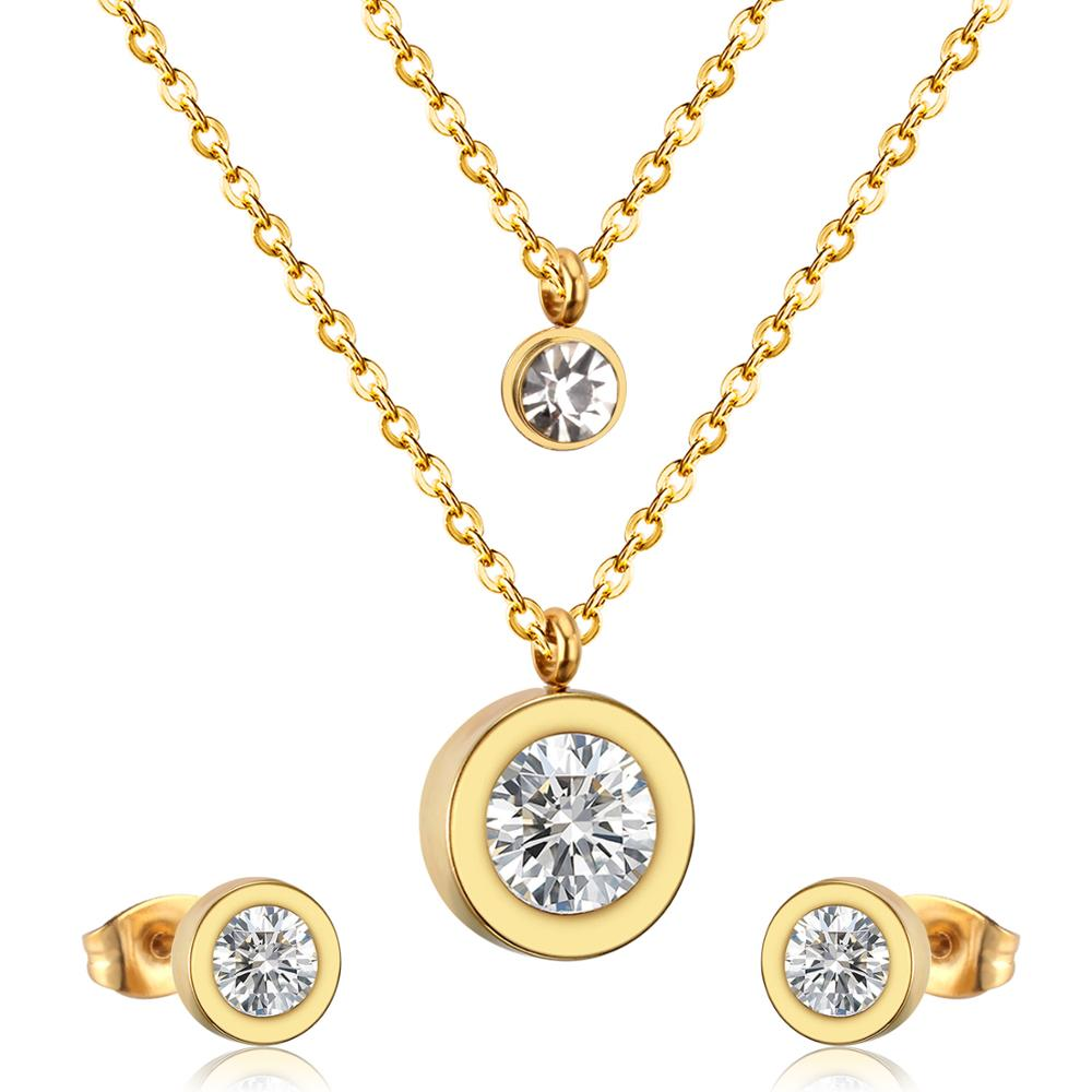 LUXUKISSKIDS Jewelry Set Stainless Steel Crystal Double Round Pendant Necklace Earring Wedding Dubai Jewelry Set For Women Girls